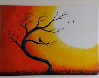 Large Abstract Original Acrylic on Canvas Bird in a Tree Whimsical Silhouette Orange Yellow Painting