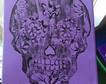 Skull stamp paintings.