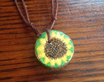 Painted Wooden Bright Sunflower Pendant, Adjustable Necklace