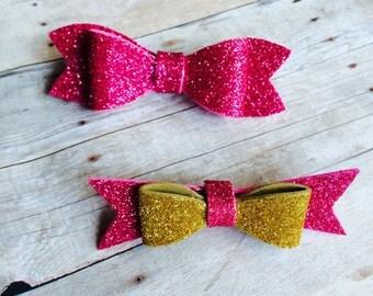 Baby Hair Clip - Bow Headband - Glitter Foam Material - Clip or headband - newborn through adult