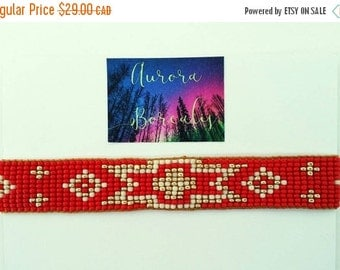 Loom bead bracelet, friendship bracelet, boho bracelet, hippie, stack red gold boho chic