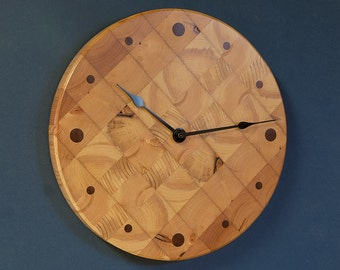 "12"" Butcher Block Kitchen Clock - Round Wall Clock - Recycled Pine"