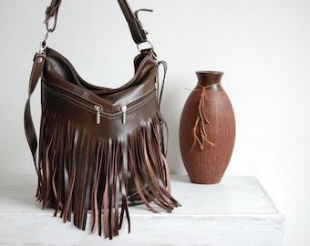 Leather Fringe Hobo Bag, Fringe Bag, Bag with Tassels, Large Cross Body Bag, Leather Handbag, Purse, Large Tote, Brown Leather Hobo Bag