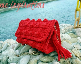 Handmade knitting bag, Red Crochet Bag, Fashion Crochet Bag, Red Knitting Bag, ''Skopelos Red''