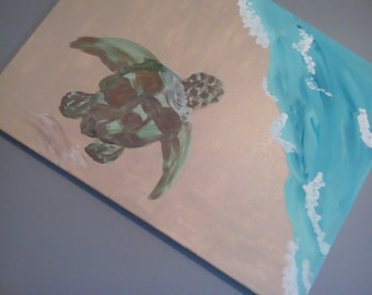 Seaturtle painting, Seascape, Beach home decor