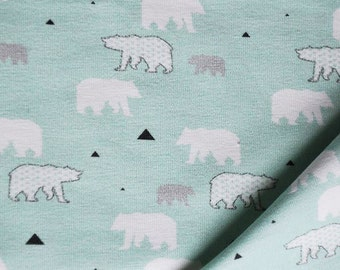 Jersey knit fabric - Ice Bear mint