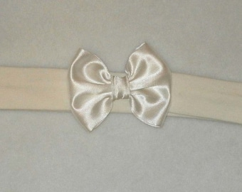 Baby's Ivory Cotton Lycra Hair Band with Satin Bow 0-36 months Headband