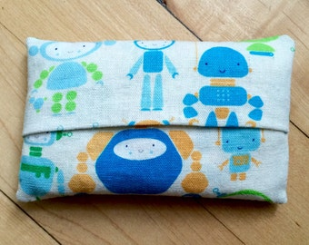 Robot Tissue Cozy - Linen Blend /Pocket Tissue Case / Kleenex Holder