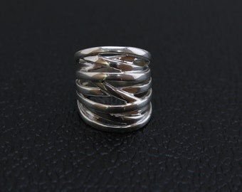 Handmade Sterling Silver .925 Taxco  Zigzag Ring