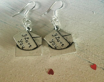 I love you envelope earrings