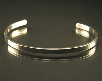 Square Thin Cuff Bracelet -  Argentium .935 Sterling Silver