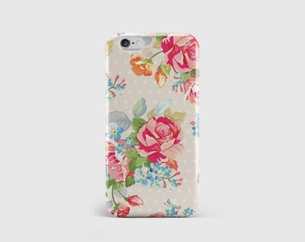 Pink Floral Roses iPhone Case, Girly Floral, Kath Kidston, Vintage, Phone Case, iPhone Cover, iPhone 7, iPhone 6, iPhone 5 \ hc-pp085