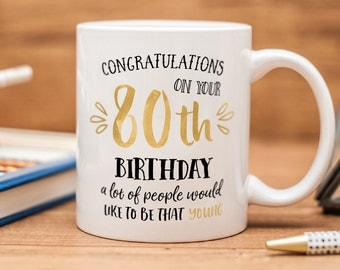 Birthday mug, beautiful present for 80th birthday