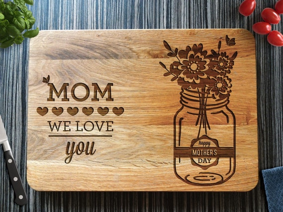 Mothers Day Gift Personalized Cutting Board By