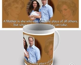 Commemorative Diana William & Kate Royal Baby George Alexander Louis Ceramic Funny Mug