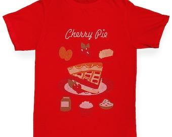 Boy's Cherry Pie Recipe Rhinestone T-Shirt