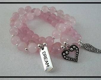 x3 Rose Quartz Charm Bracelets