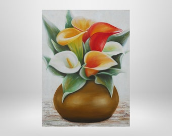 Vase, flowers, Calla, original oil painting with structure