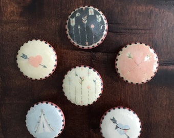 1.5 inch cabinet knobs drawer pulls baby girl nursery,  tribal,  tepees,  arrows, coral, ivory, gray, light gr