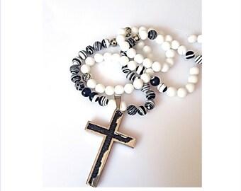 White Agate Necklace for Men, Handmade Men's Beaded Jewelry, Mens Agate Necklace,White Agate  Necklace, Mens Necklace Beaded,Gift for Father