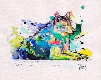 Rainbow Wolf Original Painting A5