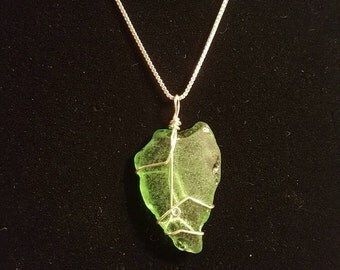 Green Beach Glass necklace - Sterling silver
