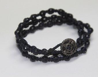 Blue Sandstone Triple Wrap bracelet.