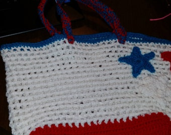 4th of July red, white, blue crotched handbag, courtneycraftcottage