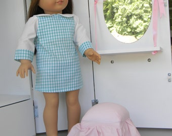 American Girl Doll Plaid Dress with Beret