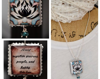 Charm/Yoga /Two Sides Unique/Dalai Lama/Inspirational/lotus flower/Om/Quote/Inspiring/Soldered/Necklace/Ball Chain/./Gift/Perfect Gift