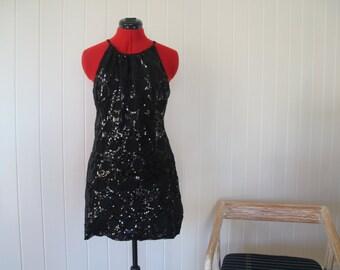 Black sequin detail minidress Size 10 AU