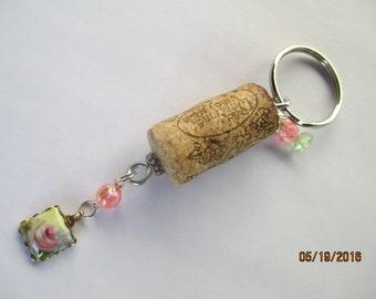 Flower Wine Cork Keyring