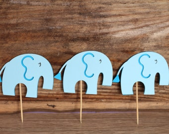 It's a boy party, 12-piece Elephant cutout, baby shower decoration,  Cupcake topper, cake topper, center piece