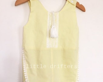 GorgeousLu Lu Lemon Lace Detailed Tassle Playsuit Size 18-24 Months to 5 Years