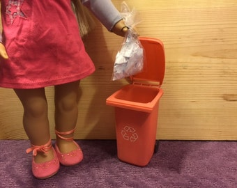 Made for American girl dolls & Barbie accessories - garbage / waste / trash can or recycle bin