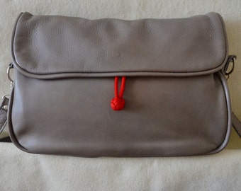 Soft Grey Leather Handbag