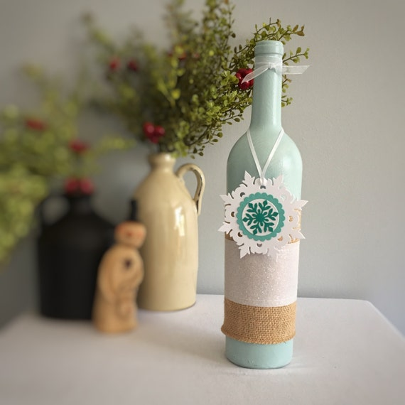 Frozen Birthday/Party Decoration/Snowflake Decor/Christmas Decor/Winter Decor/Wine Bottle Decor/Gift for Her/Wine Lover Gift/Teal and White