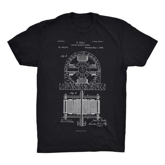 Electro motor patent t shirt nikola tesla patent shirt tesla for How to patent a t shirt