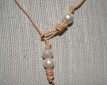 Leather Pearl Choker Necklace Lariat