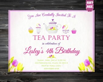1st 2nd 3rd 4th 5th 6th 7th Birthday invitation,Tea Party Invitation,Tea Party Birthday Invitation,Printable Invitation