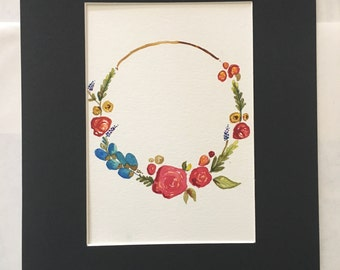 Watercolor Colorful Flower Wreath