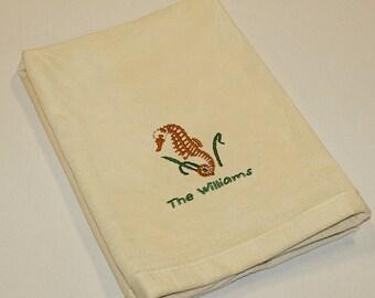 Personalized Nautical Themed Seahorse Premium Velour Hand Towel