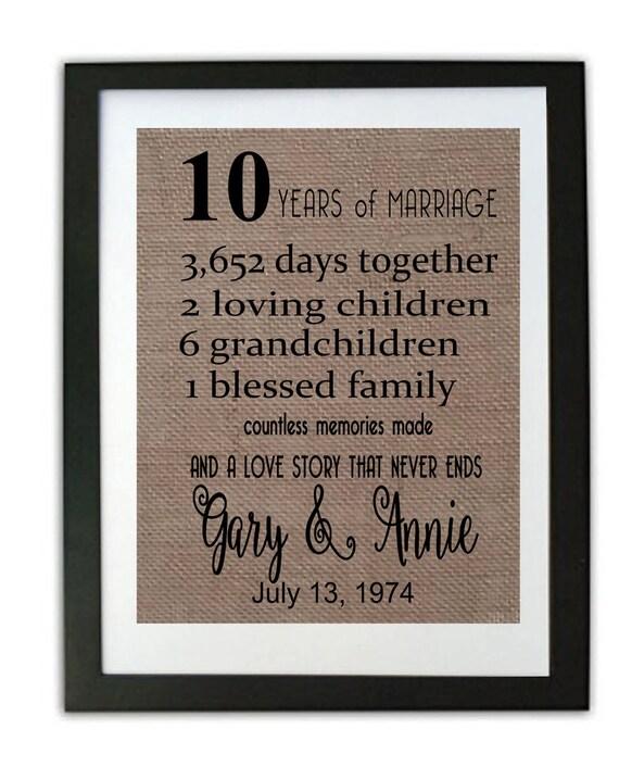 Ten Year Wedding Anniversary: 10 Year Wedding Anniversary Burlap Print/ By Momakdesign