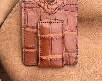 Genuine Alligator Money Clip Magnet Wallet Cognac