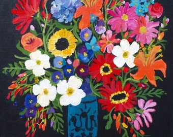 Abstract Floral Mixed Bouquet Square Painting with Black background with free shipping !!