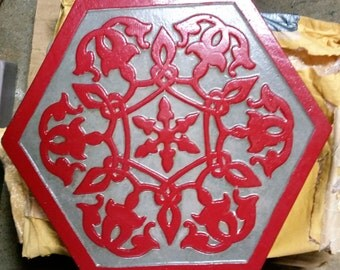 Red Arabesque Stepping Stone