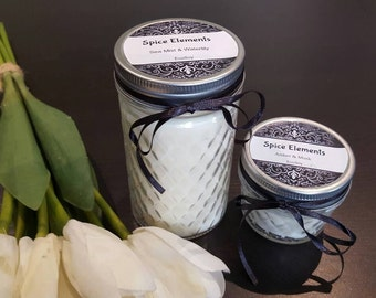 Discontinued Scents - On Special - Natural ecosoy hand poured LARGE patterned jar candle