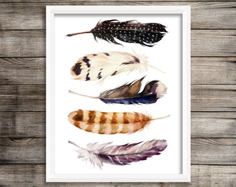 """Feather Print   8x10""""   Digital Download   Instant Download   Watercolour Feathers   Boho   Tribal   Home Decor   Wall Decor   Printable"""