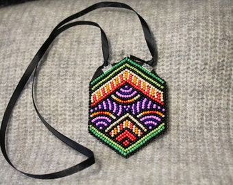Embroidery necklace, bead embroidery jewelry