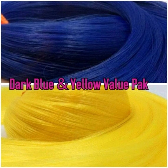 Yellow & Dark Blue 4 oz Nylon Re-rooting Doll Hair Value Pak for Custom Monster High, Ever After, Barbie, Blythe , My Little Pony